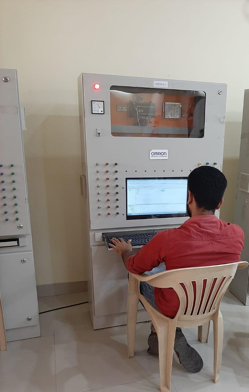 Student working on Machine